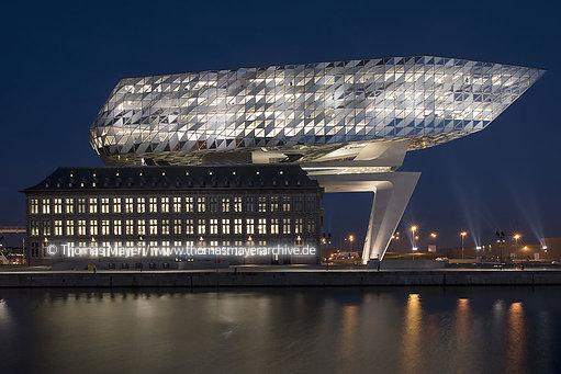 BEL, Belgium, Antwerp, Port House, new headquarter for Antwerp Port Authority built on top of the old Hansa House, architecture by Zaha Hadid 2016