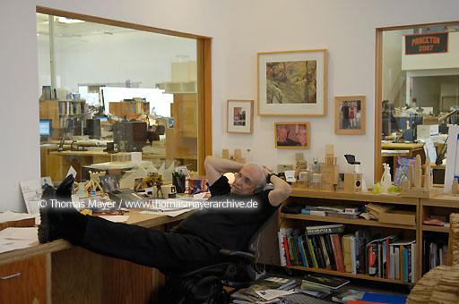 Frank Gehry in his studio