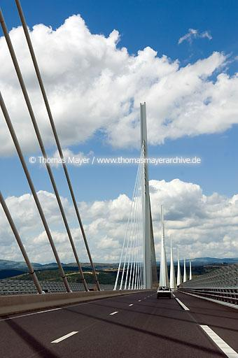 Millau Viaduct FRA, France, Millau, viaduct  over the valley of river Tarn, longest and highest vehicular bridge in the world. Length 2460 meter, highest piers summit 343 meter. The bridge is part of the motorway A75 leading from Paris to Barcelona  111AD20070614D2948