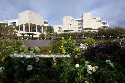 The Getty Center Los Angeles The Getty Center presents the Getty's collection of Western art from the Middle Ages to the present against a backdrop of dramatic architecture by Richard Meier, tranquil gardens, and breathtaking views.  020AN20051016D4208