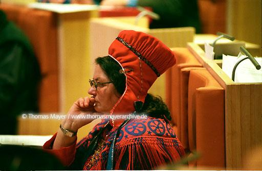 Sami Parliament Karasjok Karasjok, a small town north of the Arctic Circle, is the seat of the S�mediggi, the Parliament of the Norwegian S�mi people. The building includes features of their nomadically influenced culture: such as the plenary assembly hall, which is in the form of a tip. Architect: Stein Halvorsen, Oslo  115AA20011130A0058