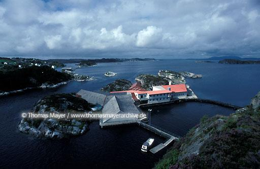 Salmon breeding, Norway Salmon farming near island Sotra, Norway  115AB19910512A0019